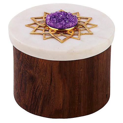 "3"" Noor Ring Box, Brown/White"
