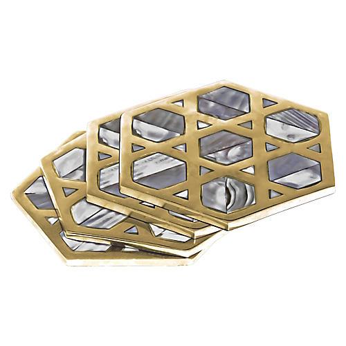 S/4 Monroe Coasters, Gold/Gray