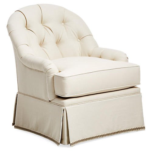 Marlowe Swivel Glider Chair, Cream Linen