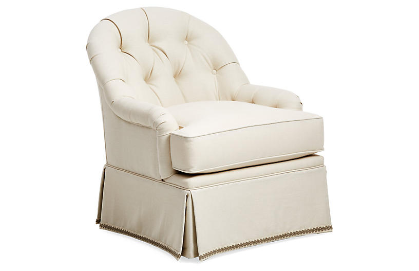Marlowe Swivel Club Chair, Cream Linen
