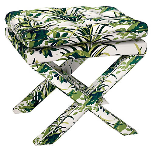 Dalton Pillow-Top Ottoman, Palm Leaf