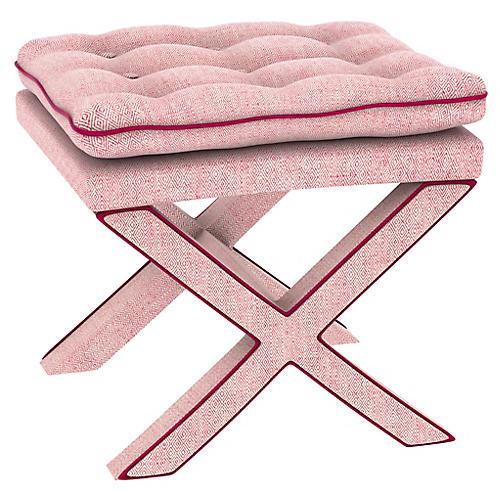 Dalton Pillow-Top Ottoman, Pink Geo
