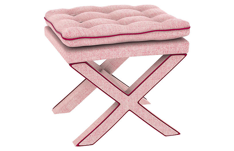 Dalton Pillow-Top Ottoman - Pink Geo