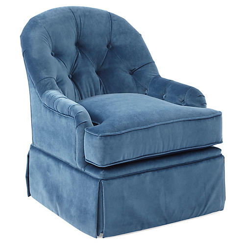 Marlowe Swivel Club Chair, Peacock Velvet