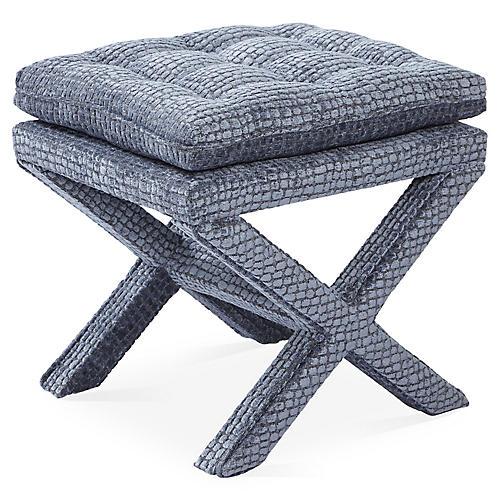 Dalton Pillow-Top Ottoman, Steel Blue