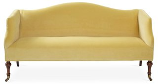 Lydia Camelback Settee, Canary Velvet   One Kings Lane   Brands | One Kings  Lane