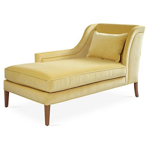 Roslin Left-Facing Chaise, Canary Velvet