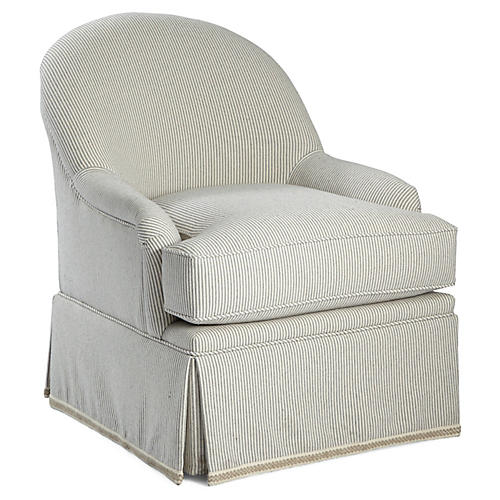 Marlowe Swivel Club Chair, Gray Ticking
