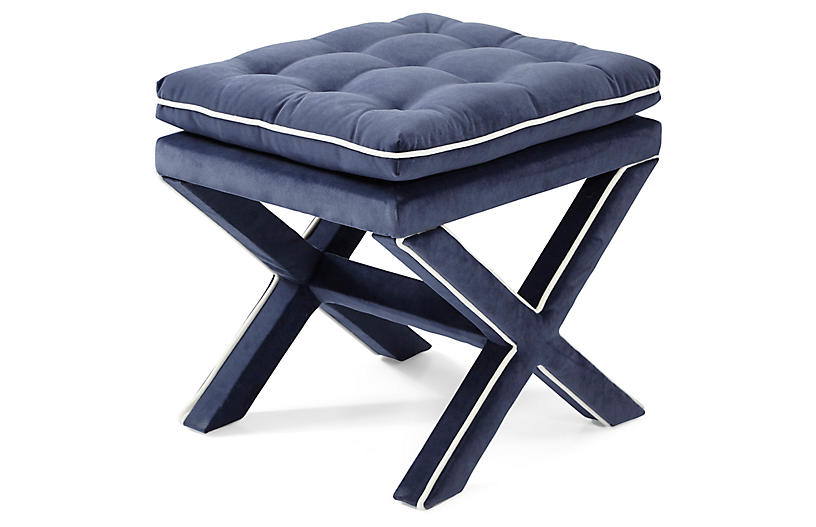 Dalton Pillow-Top Ottoman, Navy/White