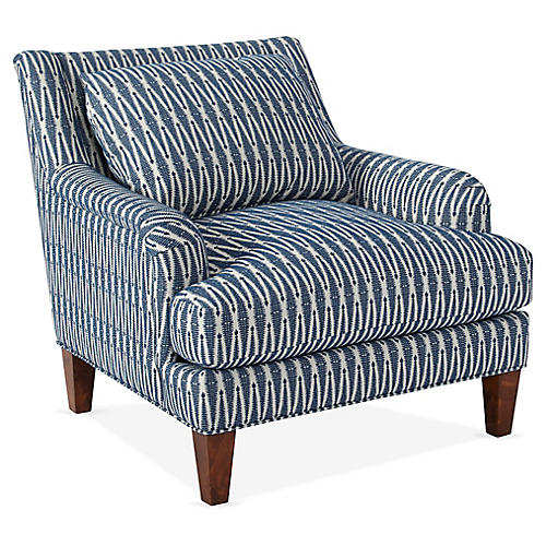Merrimack Club Chair, Indigo Arrows