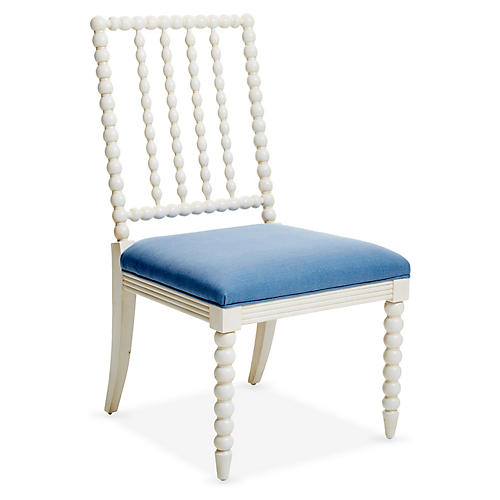 Barton Side Chair, Ivory/Chambray Linen