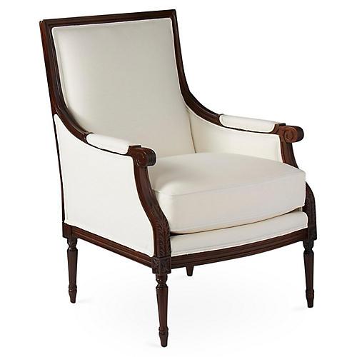 James Accent Chair, White Linen