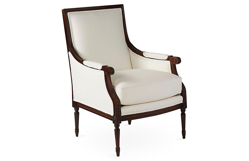 James Accent Chair, White Linen
