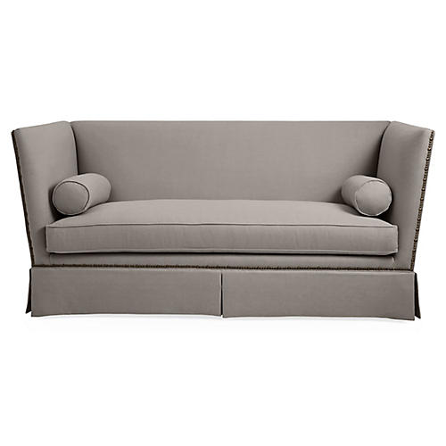 Carlisle Skirted Sofa, Stone Linen