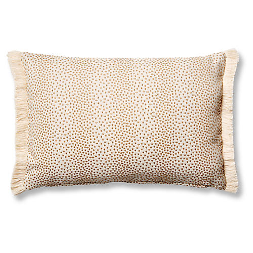 Imogen 12x18 Small Lumbar Pillow, Beige Dots