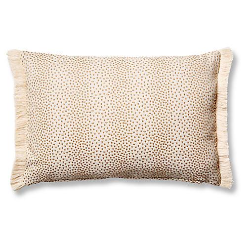 Imogen 12x18 Small Lumbar Pillow, Beige Dots