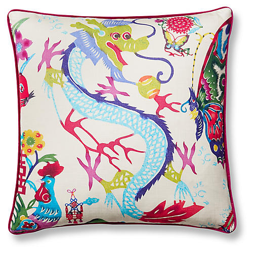 Imperial Dragon 19x19 Pillow, Berry/Multi