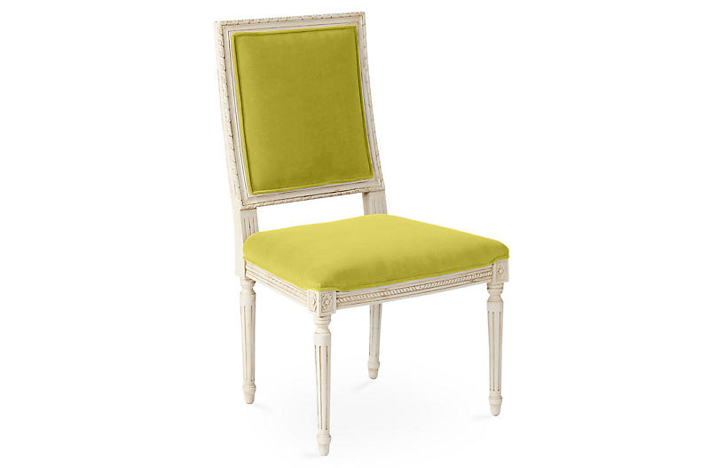 Exeter Side Chair, Chartreuse Velvet
