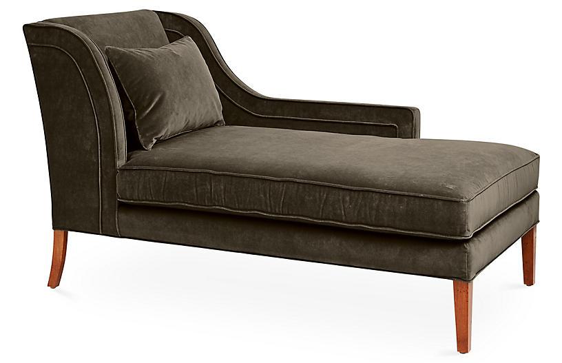 Roslin Right-Facing Chaise, Charcoal Velvet