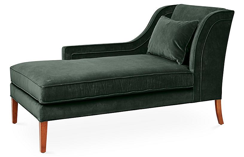 Roslin Left-Facing Chaise, Forest Velvet