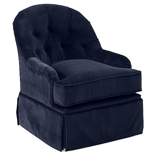 Marlowe Swivel Club Chair, Navy Velvet
