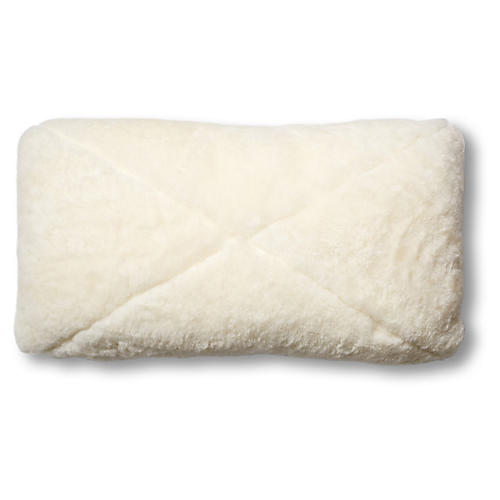 Rae 12x23 Lumbar Pillow, Ivory Shearling/Saddle