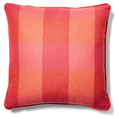 Teagan Plaid Pillow, Currant/Red-Orange