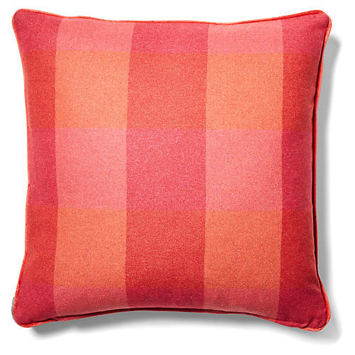 Teagan Plaid Pillow, Currant/Red-Orange