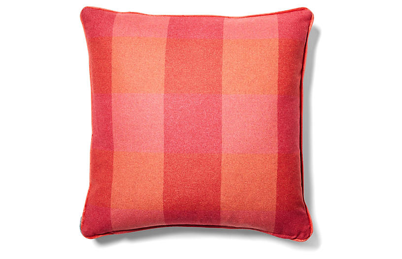 Teagan Plaid Pillow - Currant/Red-Orange
