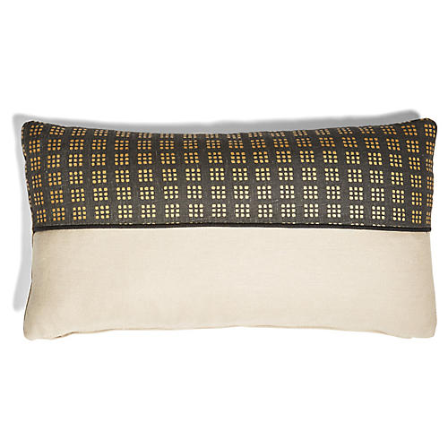 Wallace 12x23 Lumbar Pillow, Black/Dune Linen