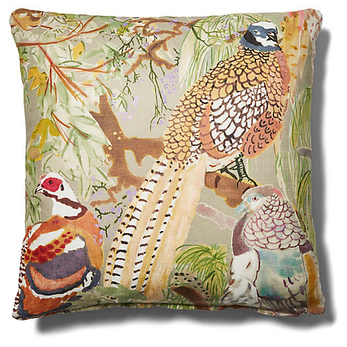 Henley 19x19 Pillow, Pheasant/Saddle Leather