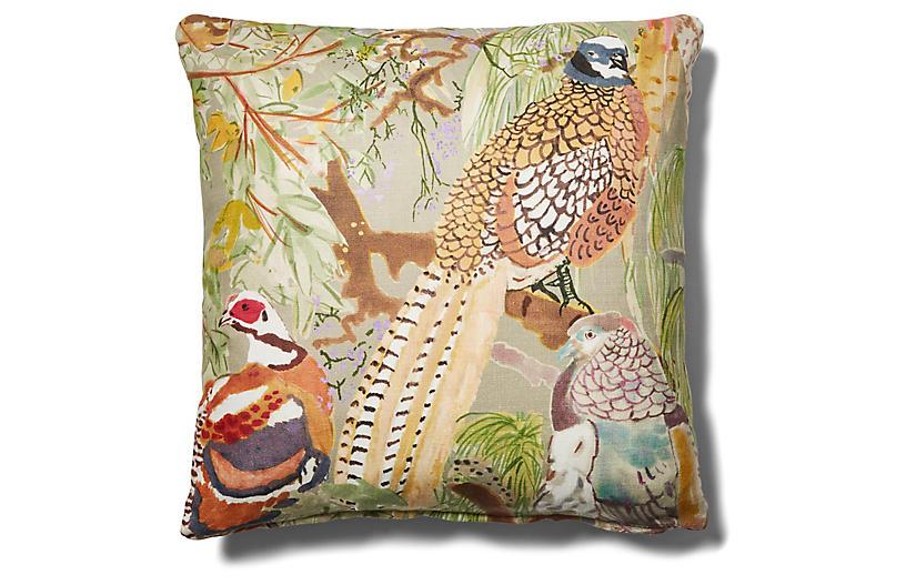 Henley 19x19 Pillow, Pheasant/Saddle Leather