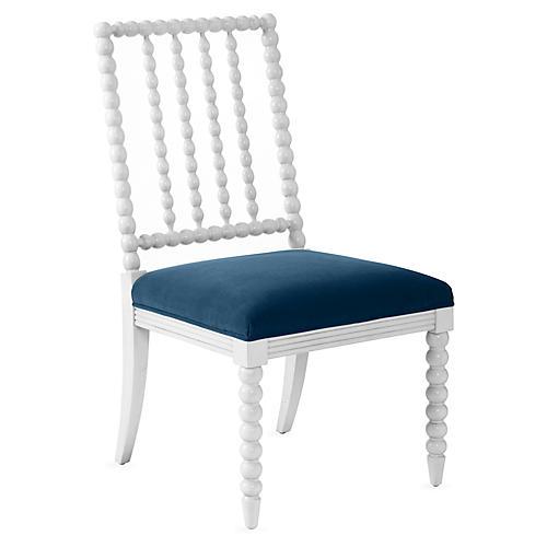 Barton Spindle Side Chair, Ivory/Peacock Velvet