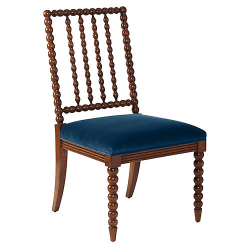 Barton Spindle Side Chair, Chestnut/Peacock Velvet
