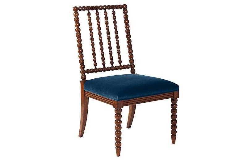 Barton Spindle Side Chair, Chestnut/Peacock Velvet