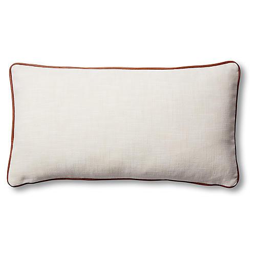 Costa 12x23 Lumbar Pillow, Ivory/Saddle