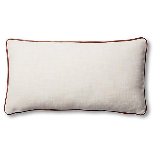 Costa 12x23 Lumbar Pillow, Ivory/Saddle