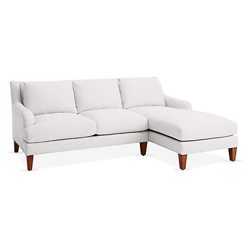 Merrimack Right-Facing Sectional, White Linen