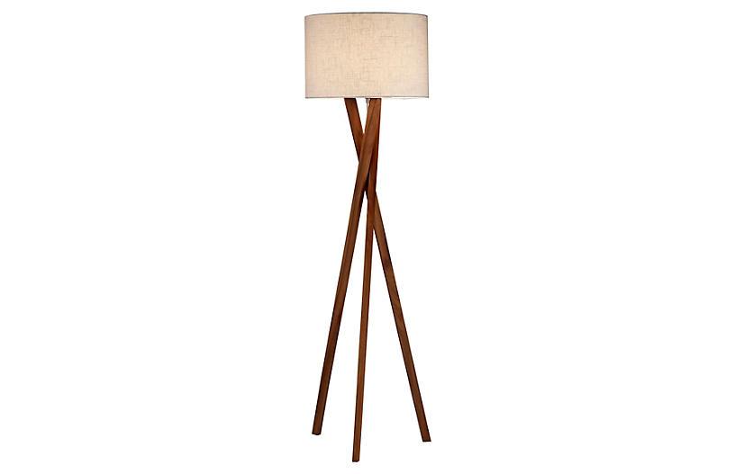 Stanley Tripod Floor Lamp, Walnut