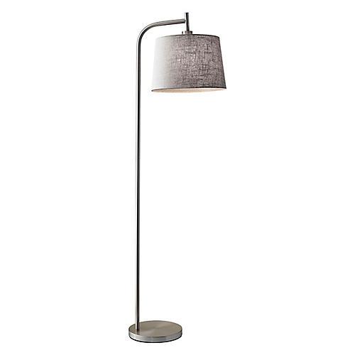 Blake Floor Lamp, Brushed Steel