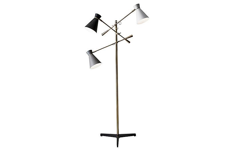 Gracie 3-Arm Floor Lamp, Antiqued Brass/Multi