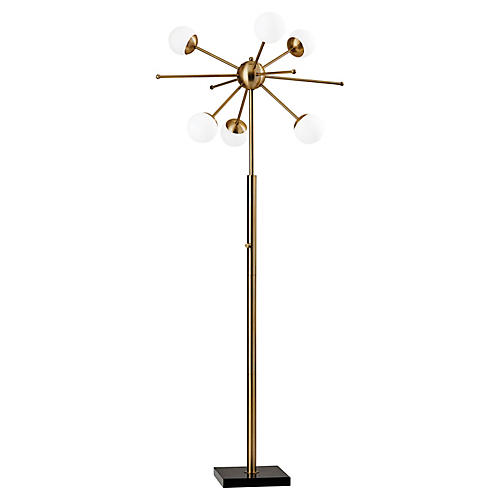 Dempster Floor Lamp, Antiqued Brass/White