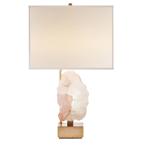 Trieste Table Lamp, Antiqued Brass/Pink
