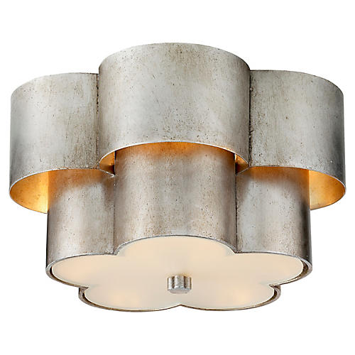 Arabelle Flush Mount, Burnished Silver Leaf