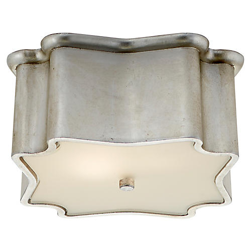 Bolsena Deco Flush Mount, Burnished Silver Leaf