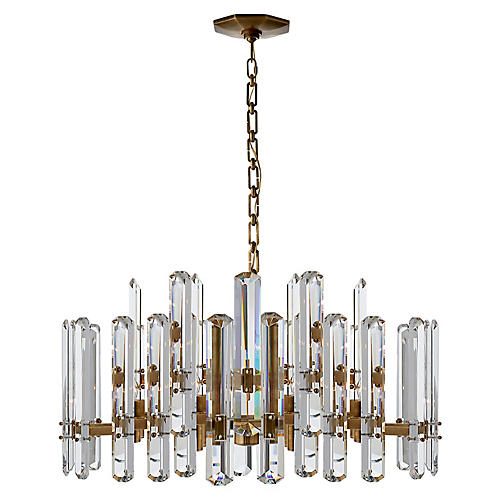 Bonnington Large Chandelier, Antiqued Brass