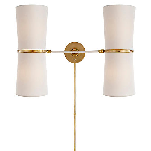 Clarkson Double Sconce, Plaster White/Brass