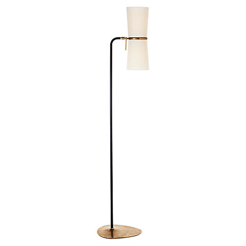 Clarkson Floor Lamp, Black/Brass