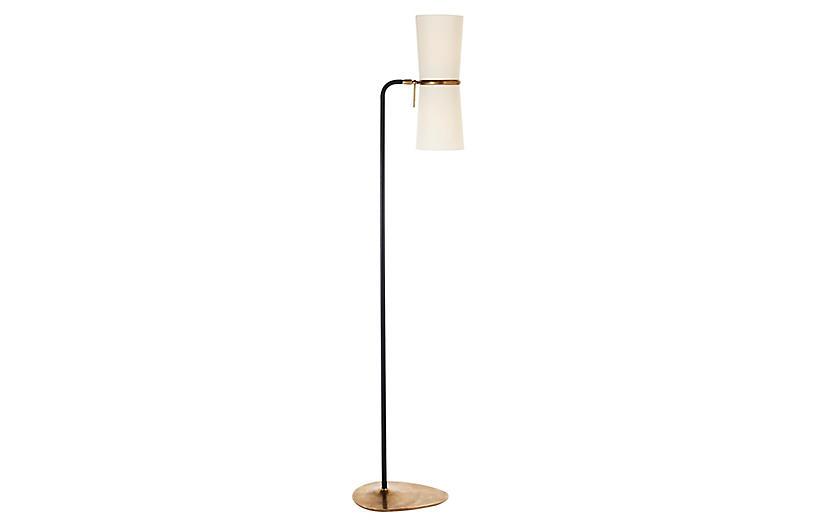 Clarkson Floor Lamp, Black/Brass