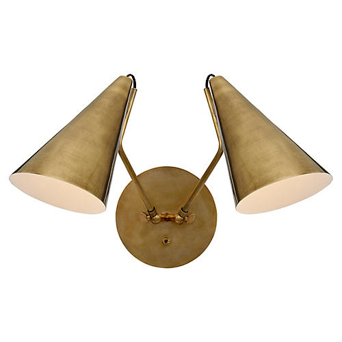 Clemente Double Sconce, Antiqued Brass